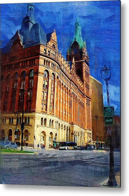 Architecture Metal Print featuring the digital art City Hall And Lamp Post by Anita Burgermeister