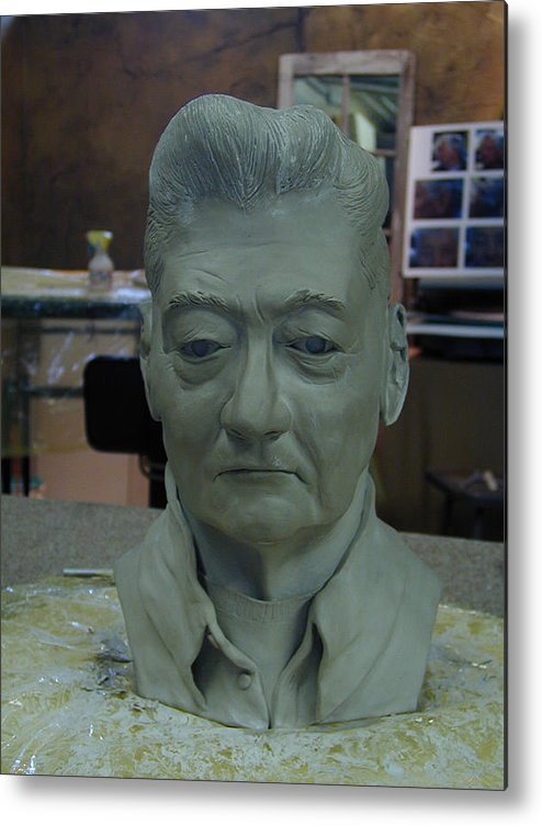 Portrait Sculpture Of An Elderly Man Metal Print featuring the sculpture Clay Sculpture Of Gerald Simpson by Terri Meyer