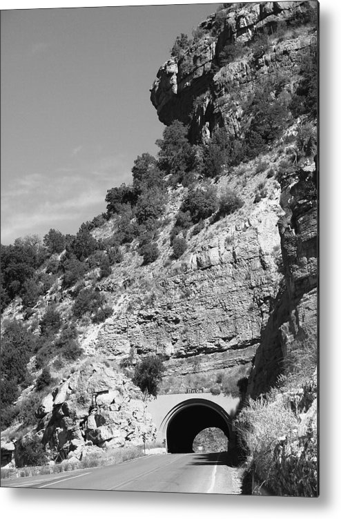 Cloudcroft Metal Print featuring the photograph Cloudcroft Tunnel Black And White by Brenda Purvis