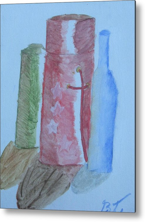 Acrylic Still Life Bottles Metal Print featuring the painting Color And Shading by Brianna Emily Thompson