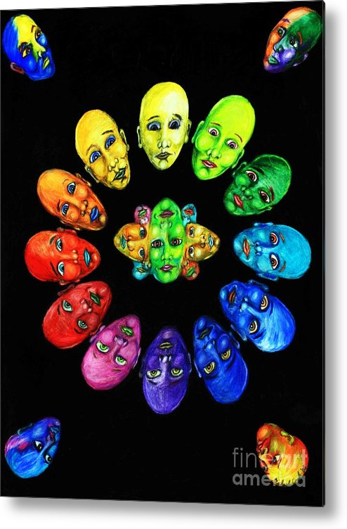 Color-wheel Color Theory Metal Print featuring the drawing Colorful Minds by Michael Cook
