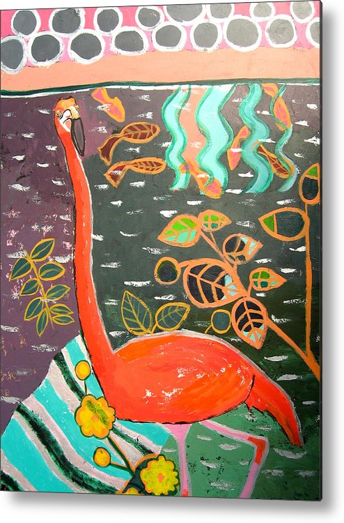 Flamingo Metal Print featuring the painting Conversation With Flamingo by Aliza Souleyeva-Alexander
