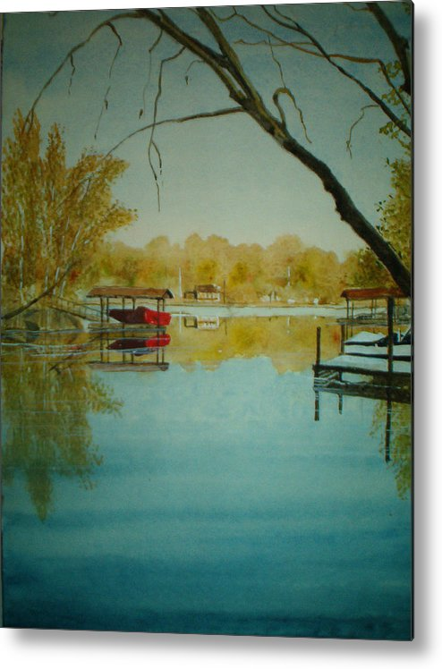 Landscape Metal Print featuring the painting Cove In Early Spring by Shirley Braithwaite Hunt
