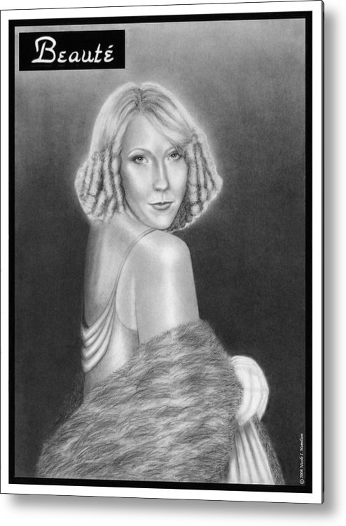 Model Metal Print featuring the drawing Cover Girl by Nicole I Hamilton