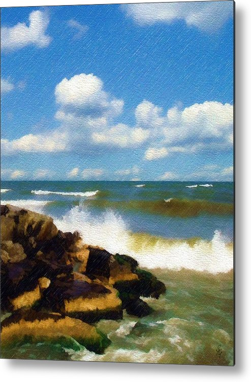 Seascape Metal Print featuring the photograph Crashing Into Shore by Sandy MacGowan