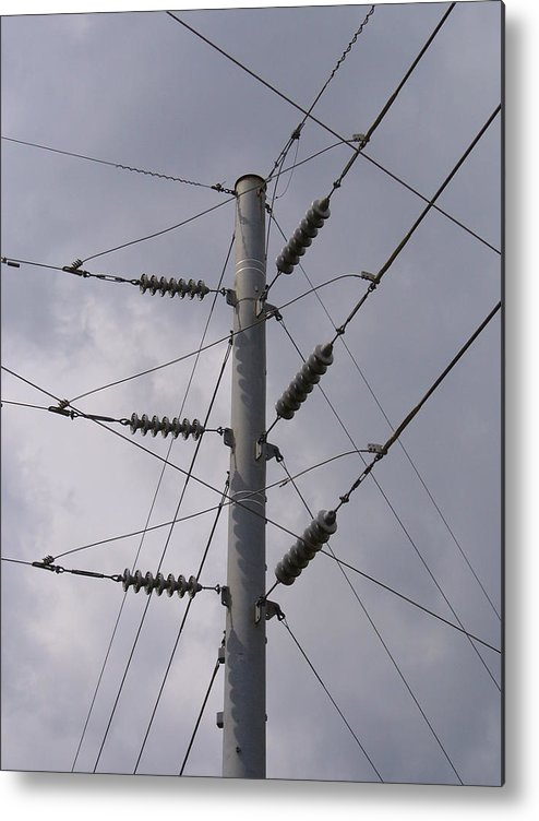 Outdoor Metal Print featuring the photograph Crossed Wires by Stephanie Richards