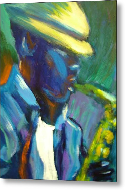 Sax Player Metal Print featuring the painting D by Jan Gilmore