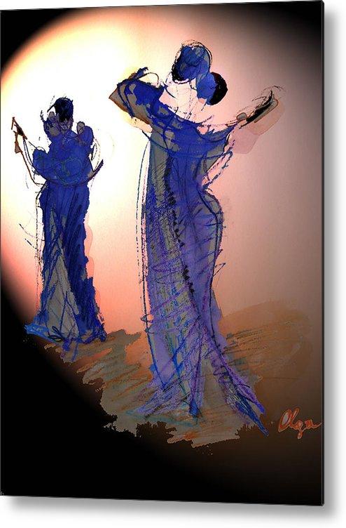 Tango Metal Print featuring the painting Dance In Purple by Olga Gernovski