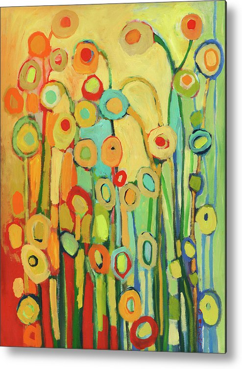 Floral Metal Print featuring the painting Dance Of The Flower Pods by Jennifer Lommers