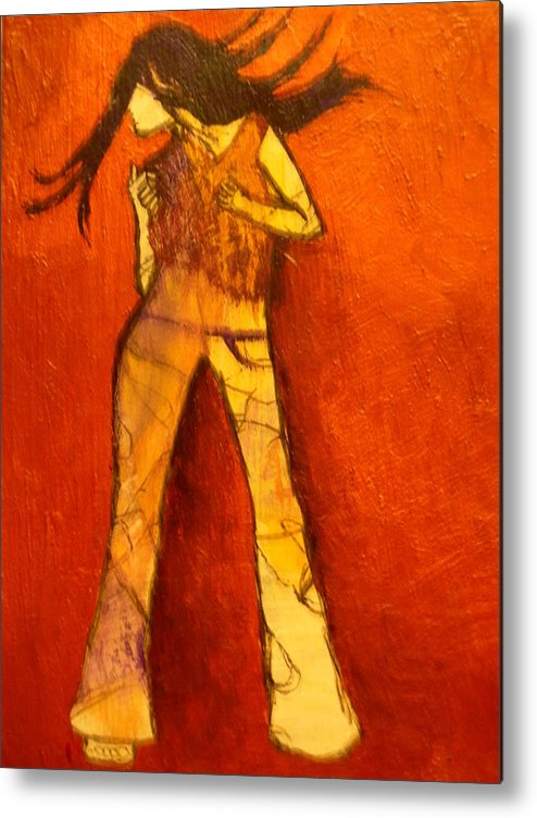 Portrait Metal Print featuring the painting Dancing In The Club by L Visser