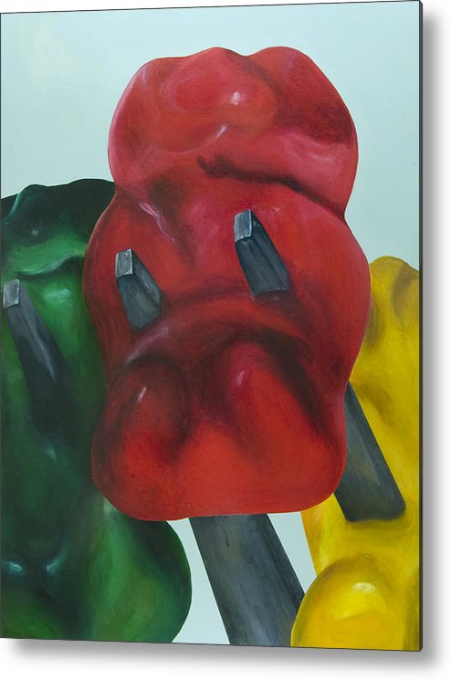 Gummy Bear Metal Print featuring the painting Death Of A Gummy Bear I by Josh Bernstein