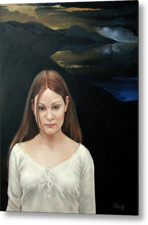 Facial Expressioin Metal Print featuring the painting Defiant Girl 2004 by Jerrold Carton