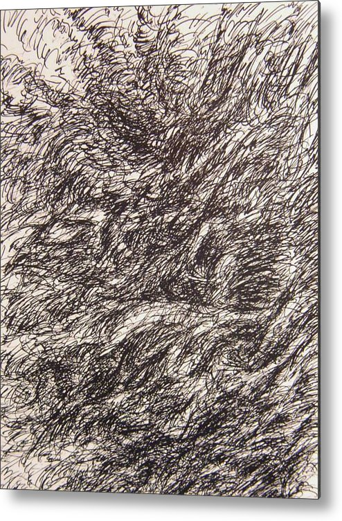 Landscape Metal Print featuring the drawing Detonate by Uwe Schein