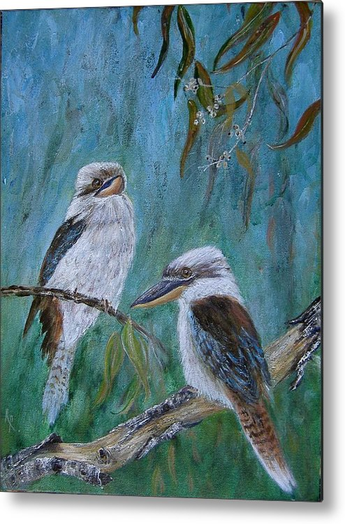 Birds Metal Print featuring the painting Did You Hear Something by Rita Palm