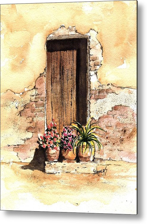 Door Metal Print featuring the painting Door With Flowers by Sam Sidders