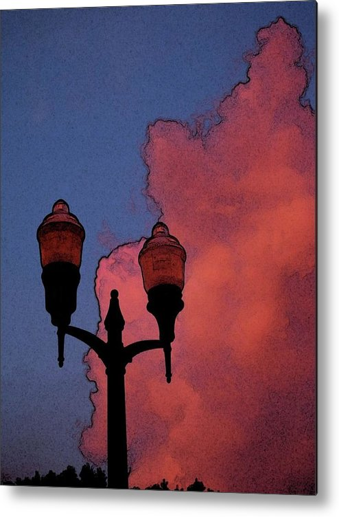 Clouds Metal Print featuring the photograph Downtown Lights by Laura Regier