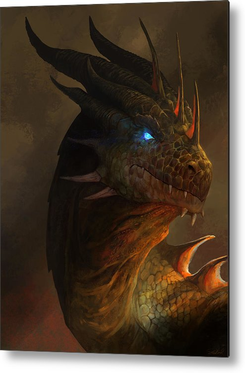 Dragon Art Metal Print featuring the mixed media Dragon Portrait by Steve Goad