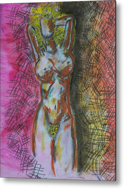 Abstract Metal Print featuring the digital art Drawing Of A Woman by B and C Art Shop