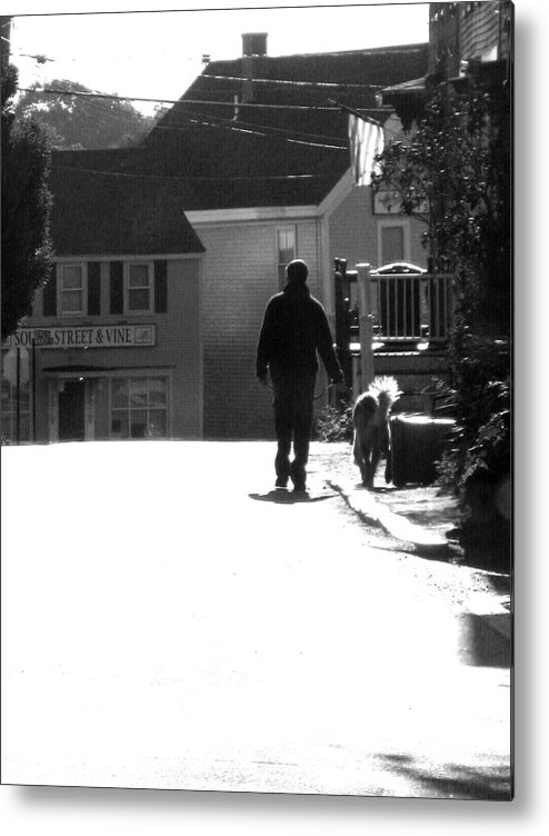 Street Scape Metal Print featuring the digital art Early Morning Walk by Donna Thomas