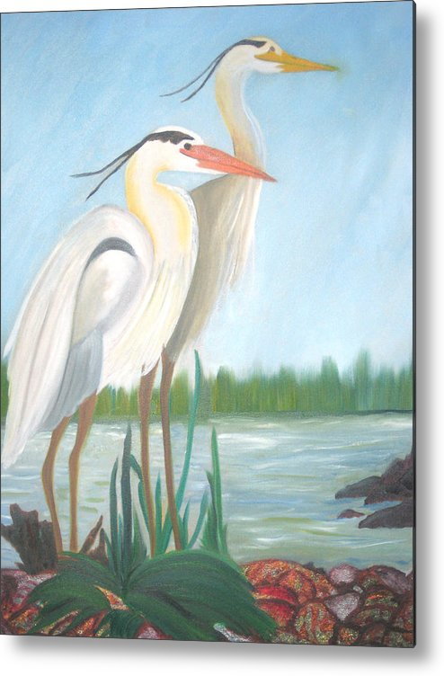Animals Metal Print featuring the painting Egrets by AVK Arts