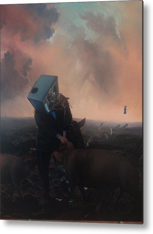 Surreal Y Critico Metal Print featuring the painting El Aparato by Juan Carlos Cazares