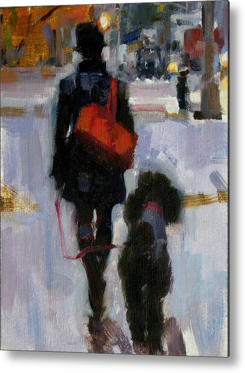 Dogs Metal Print featuring the painting Evening Walk by Merle Keller