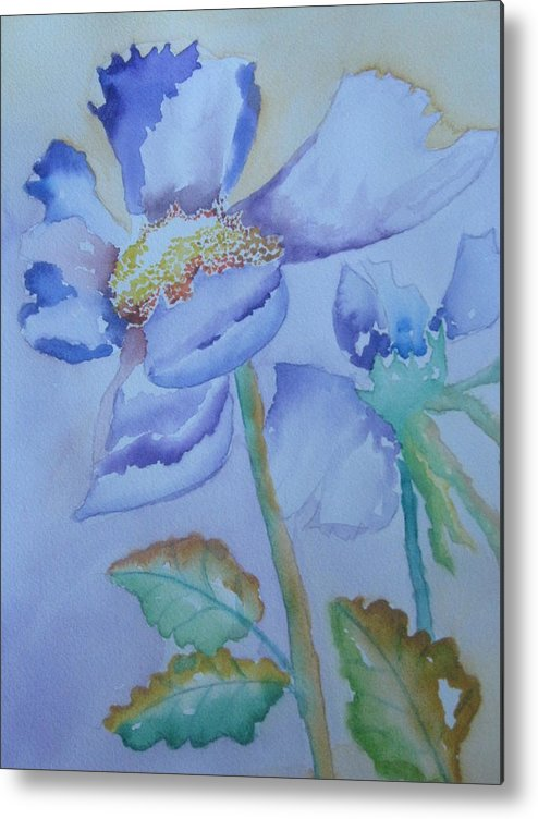 Watercolor Metal Print featuring the painting Fall Daisy by Warren Thompson