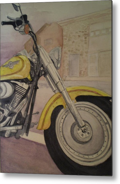 Motorcycle Metal Print featuring the painting Fat Boy by Alyson Harris