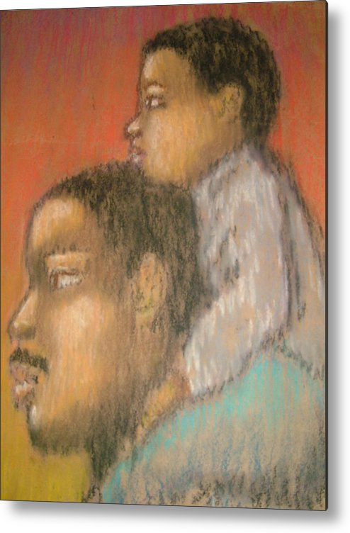 Metal Print featuring the drawing Father And Son by Jan Gilmore