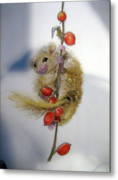 Field Mouse Metal Print featuring the mixed media Field Mouse by Jennifer Zhao