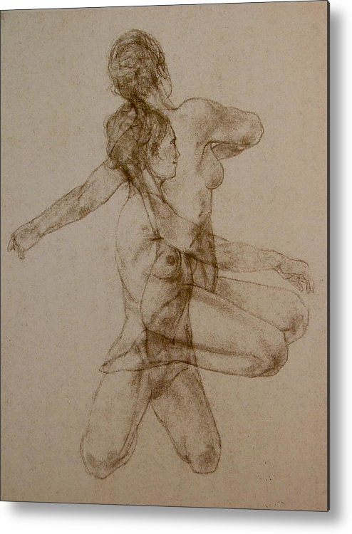 Female Metal Print featuring the painting Figurative Movement by Gary Kaemmer