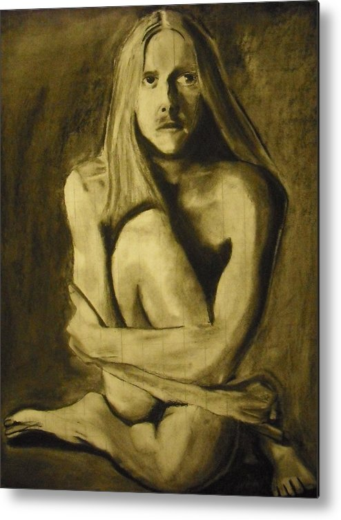 Figure Metal Print featuring the drawing Figure Study by David Rios