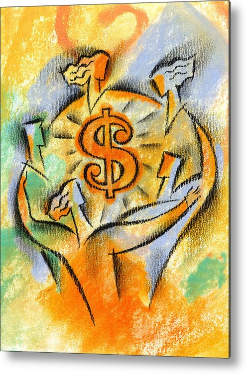 Business Deal Business Deals Dollar Sign Dollar Signs Dollars Financial Planning Financial Success Join Joined Joining Joining Together Joint Account Joint Venture Merger Mergers Money Moneymaking Opportunity Partner Partners Partnership Profit Prosper Prosperous Team Teams Teamwork Together Metal Print featuring the painting Financial Success by Leon Zernitsky