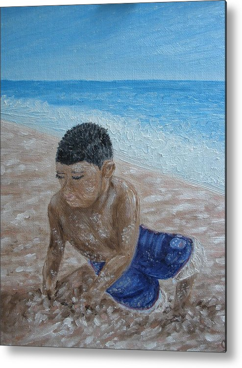 Beach Metal Print featuring the painting First Day At The Beach by Carrie Mayotte