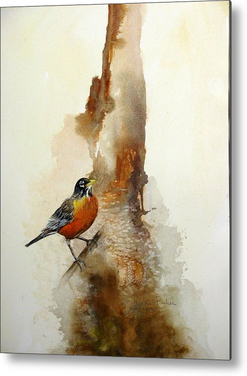 Robin Metal Print featuring the painting First Sign Of Spring by Lynne Parker