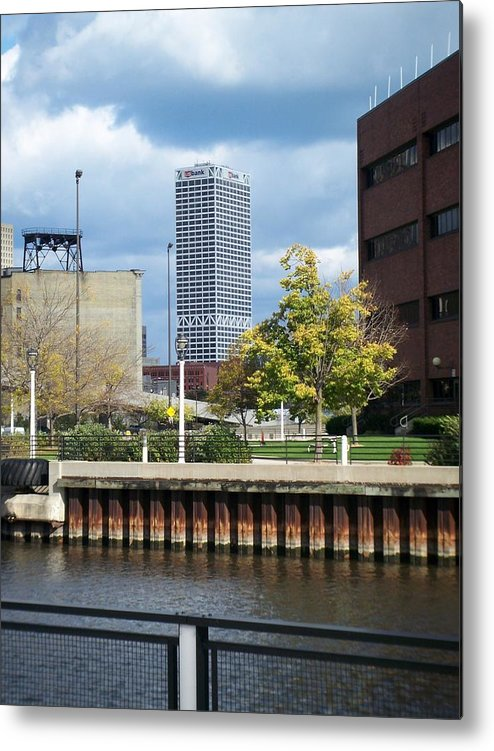 First Star Bank Metal Print featuring the photograph First Star Tall View From River by Anita Burgermeister