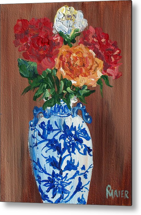 Floral Metal Print featuring the painting Five Roses by Pete Maier