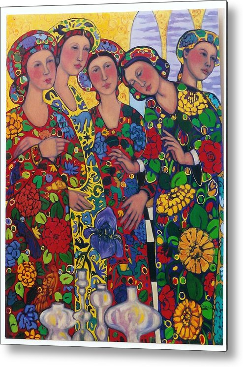 Five Women And The Iris Metal Print featuring the painting Five Women And The Iris by Marilene Sawaf