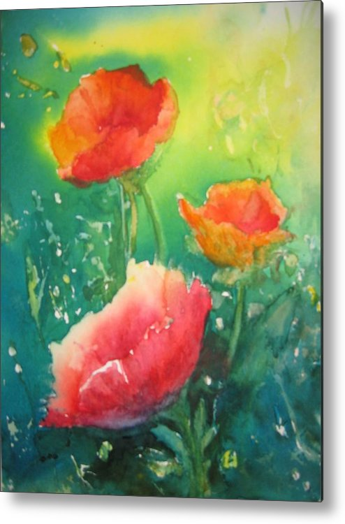 Poppies Metal Print featuring the painting Flander's Poppies by Liz McQueen