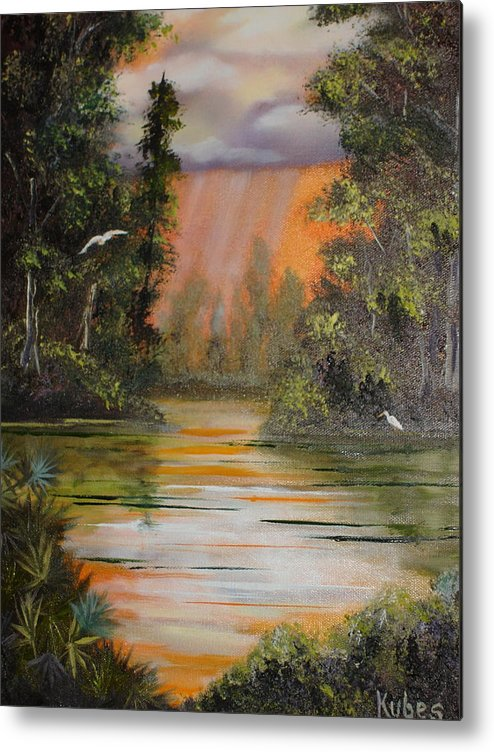 Landscape Metal Print featuring the painting Florida Thunderstorm by Susan Kubes