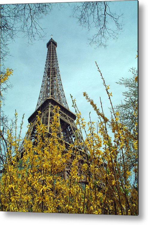 Eiffel Tower Metal Print featuring the photograph Flowered Eiffel Tower by Charles Ridgway