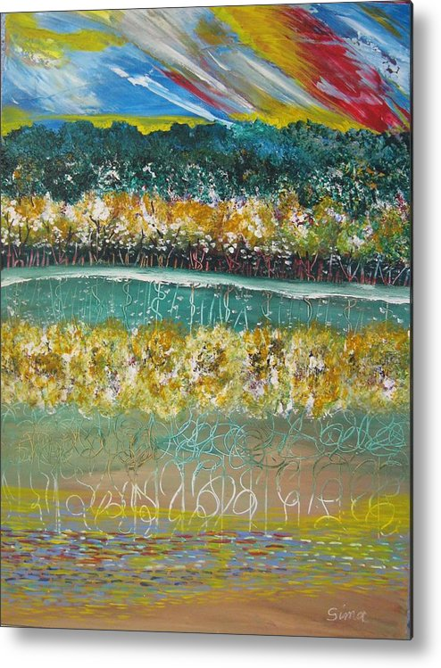 Abstract Metal Print featuring the painting Forest At The Lale by Sima Amid Wewetzer
