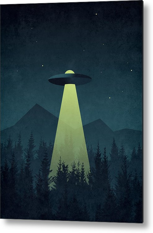 Forest Metal Print featuring the digital art Forest Ufo by Organic Synthesis