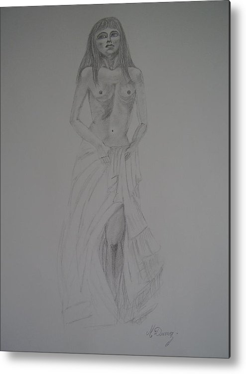 Dody Shape Metal Print featuring the drawing Fragile by Murielle Hebert