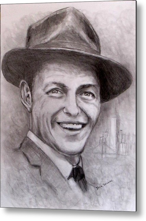 Frank Sinatra Metal Print featuring the drawing Frank by Jack Skinner