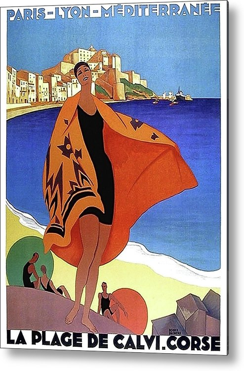 French Riviera Metal Print featuring the painting French Riviera, Woman On The Beach, Paris, Lyon, Mediterranean Railway by Long Shot