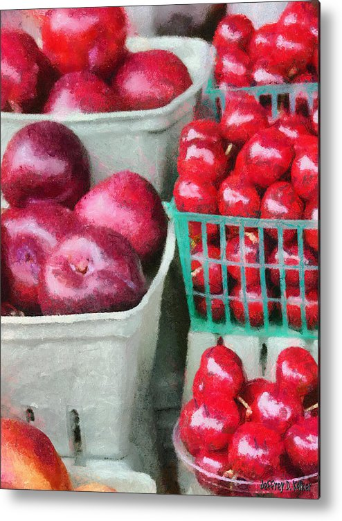 Apple Metal Print featuring the painting Fresh Market Fruit by Jeff Kolker