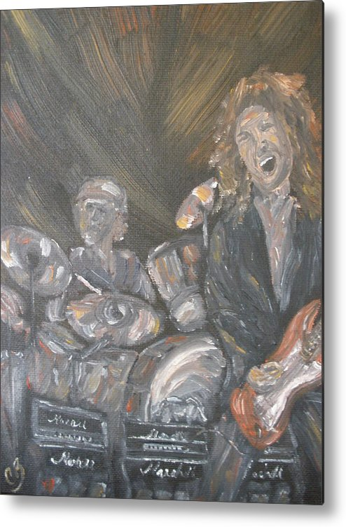 Rock Band Metal Print featuring the painting Frusciante by Carrie Mayotte