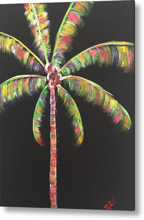 Palm Tree Metal Print featuring the painting Funky Palm Tree by Rebecca Williams