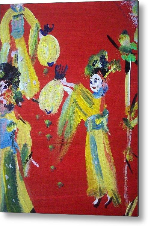 Geisha Metal Print featuring the painting Geisha Girl by Judith Desrosiers